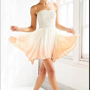 Ecote Beaded Sunset Mini Ivory Orange Dress